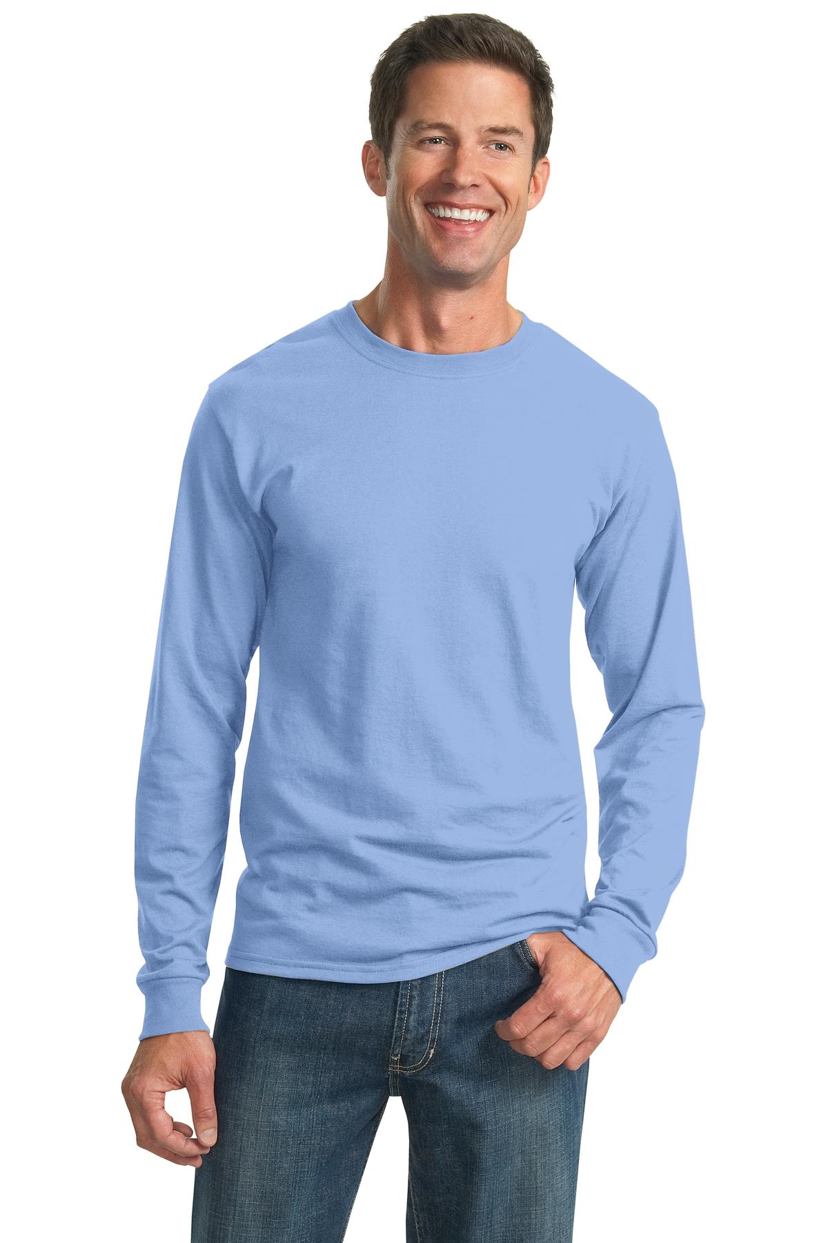 Jerzees dri power active cotton poly long sleeve dry fit t Light blue t shirt mens