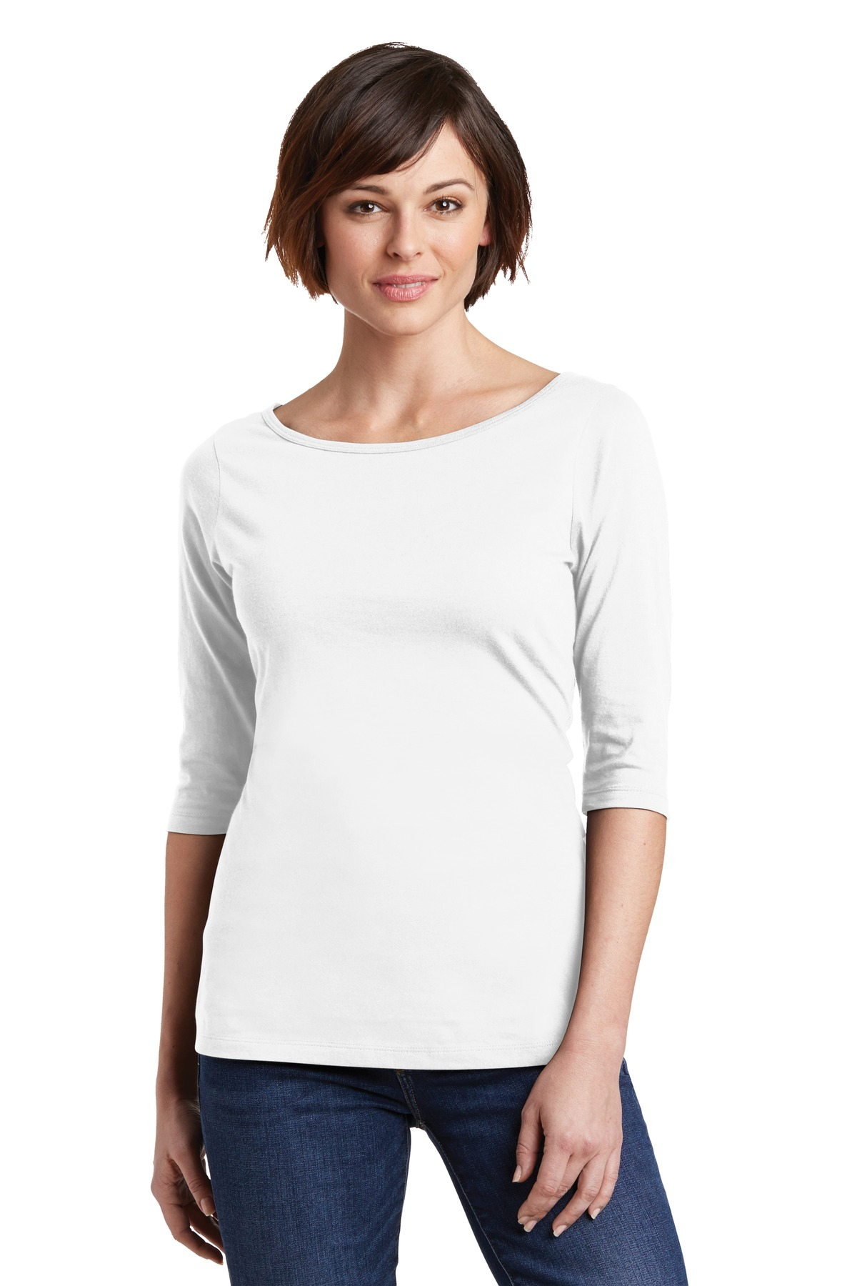 District Made Ladies 3/4-Sleeve Tee 100% Cotton Womens ...