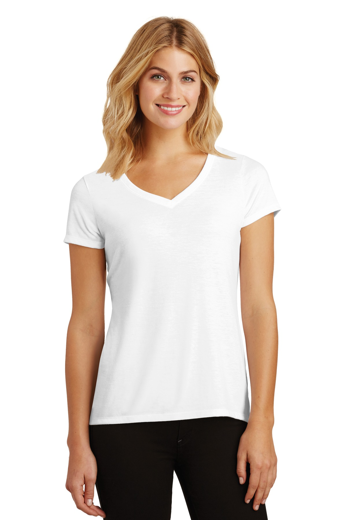 District Made Ladies Triblend V Neck Shirt Womens Basic