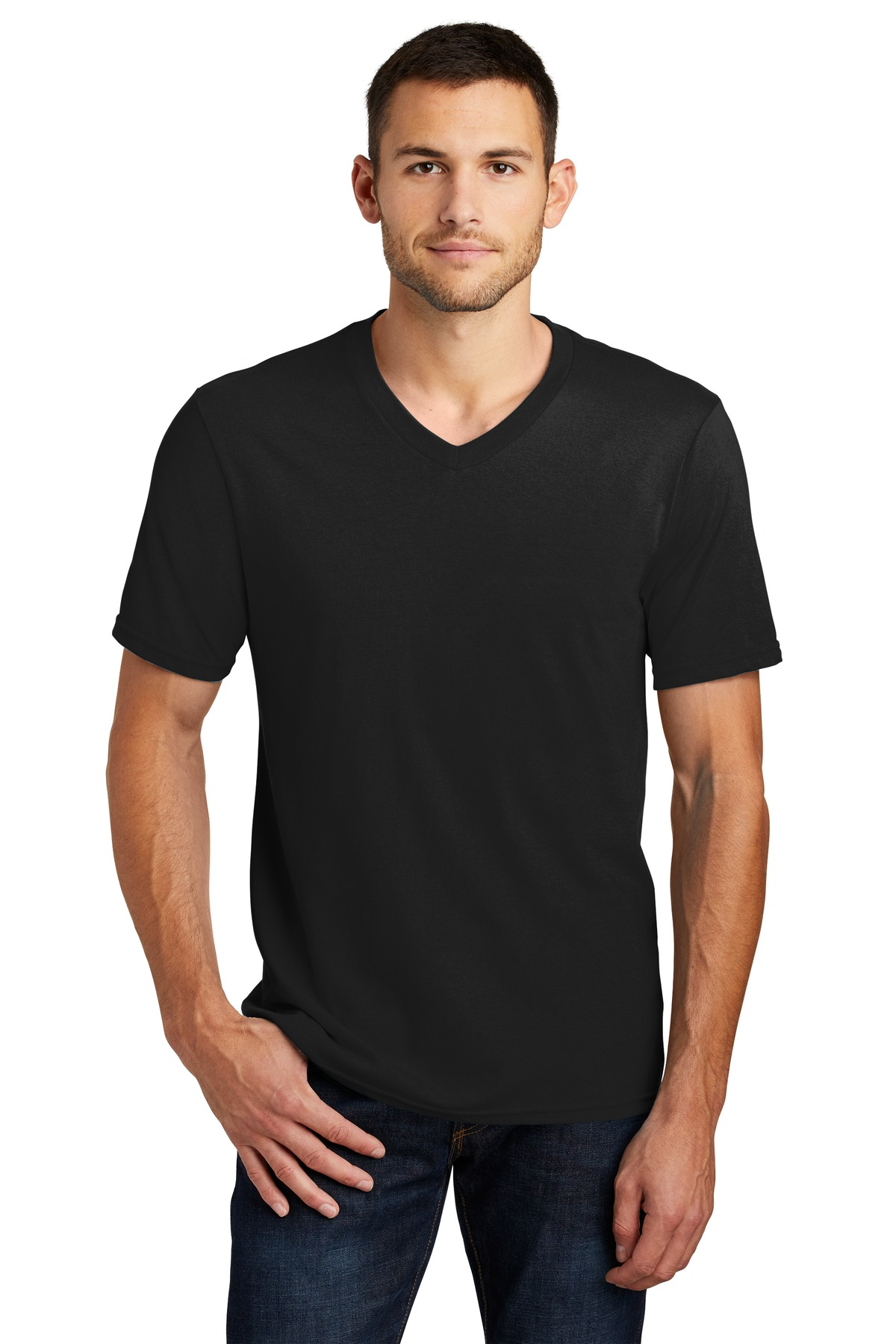 District mens v neck casual short sleeve tee 100 cotton for Mens t shirts 4xl