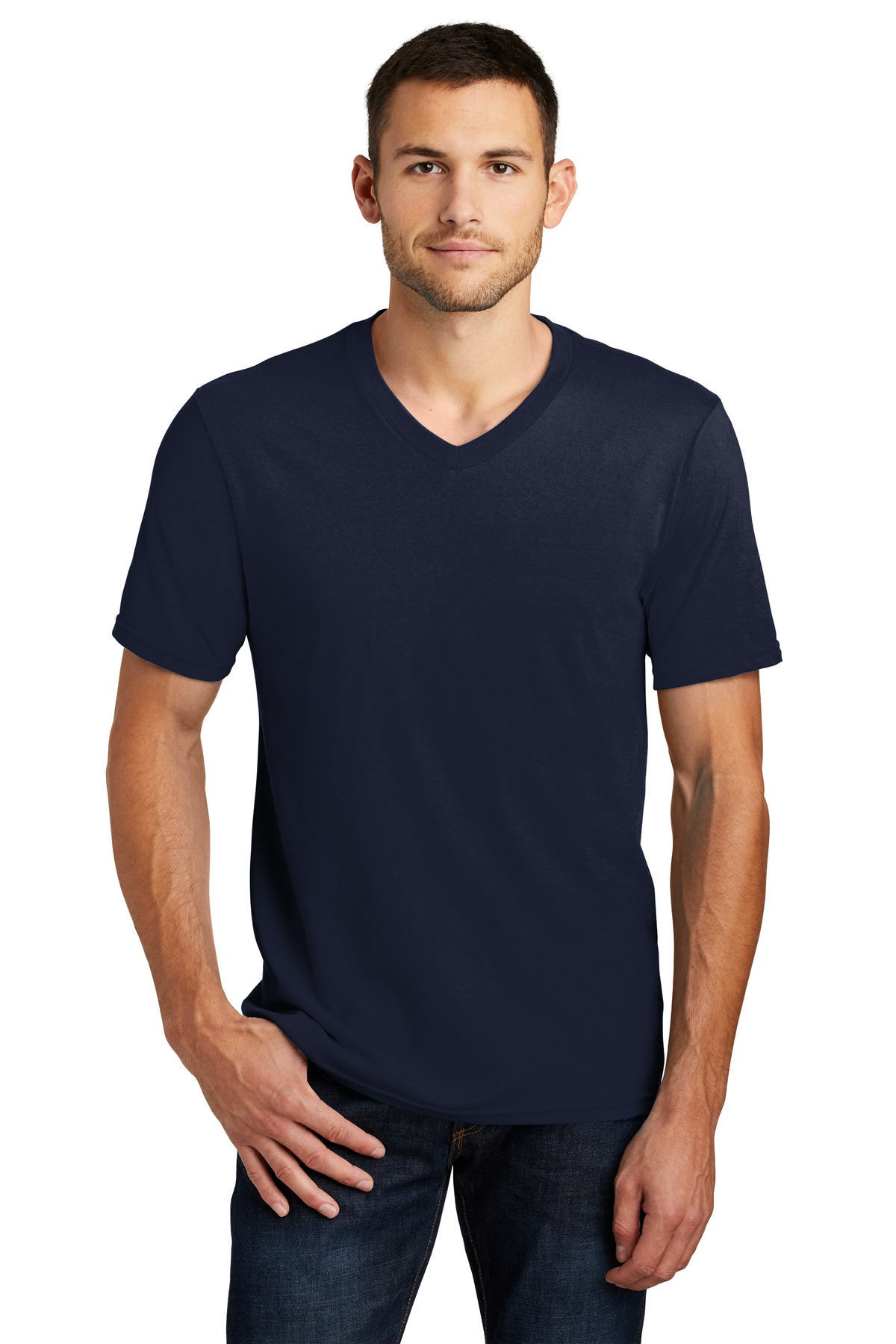 District mens v neck casual short sleeve tee 100 cotton for Mens xs golf shirts