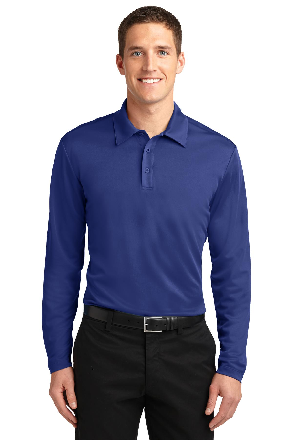 Port authority mens silk touch dry fit long sleeve polo for Men s polyester polo shirts