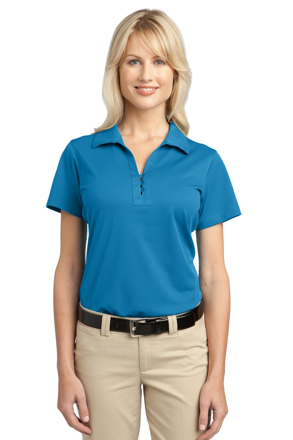 Port authority ladies casual polo shirt womens polyester for Woman s polo shirts