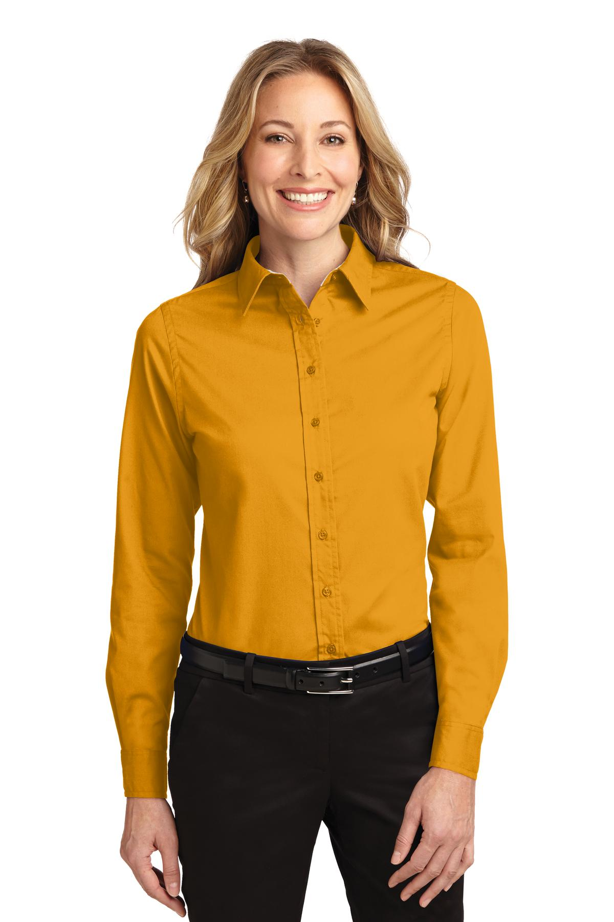Port authority ladies long sleeve easy care shirt womens for Women s turquoise long sleeve shirt