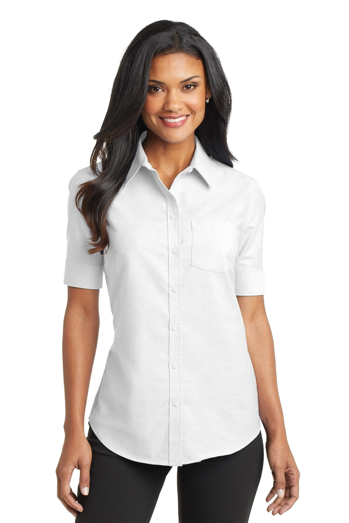 Port authority ladies short sleeve oxford shirt womens for Women s button down dress shirts