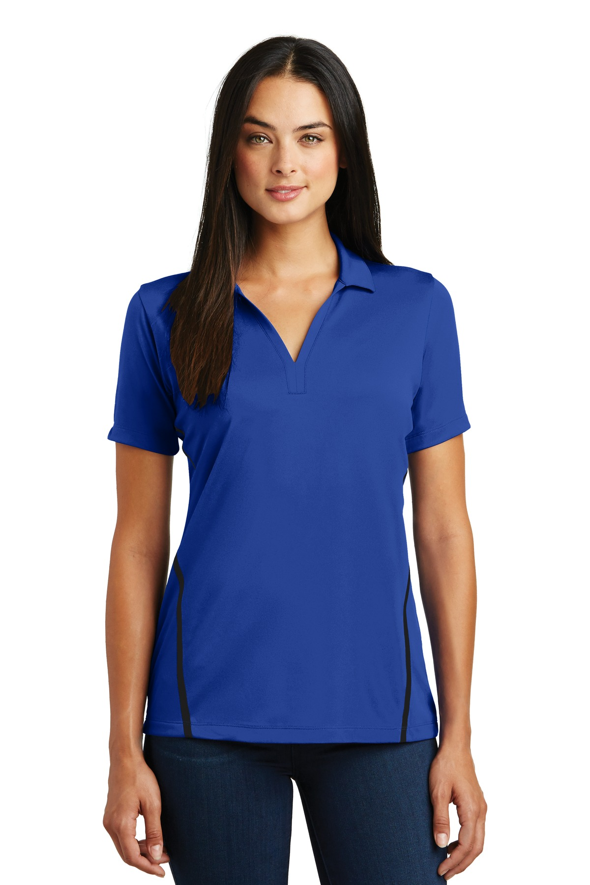 Sport tek ladies contrast posi charge tough polo shirt for Golf polo shirts for women