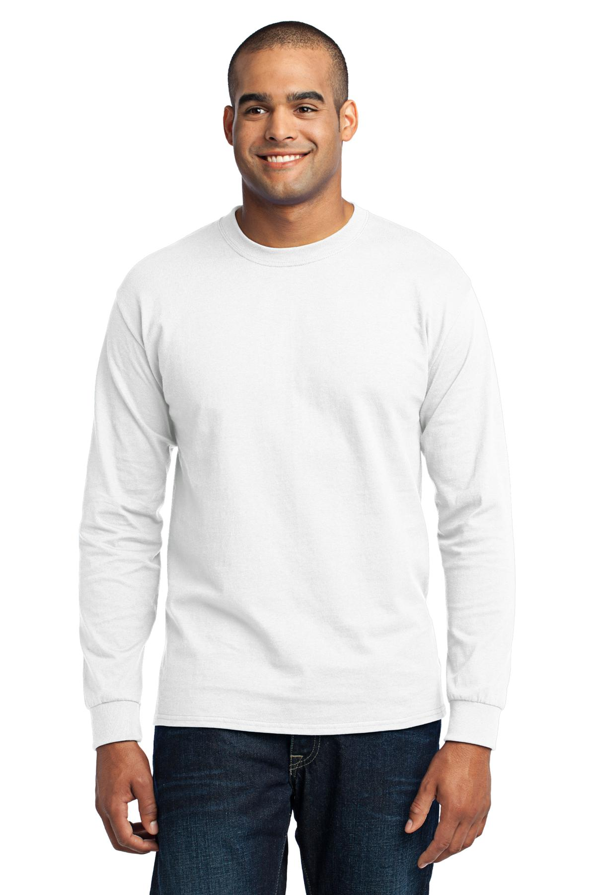 Port & Company Mens Tall Long Sleeve Blend 50/50 Cotton/Poly Tee T ...