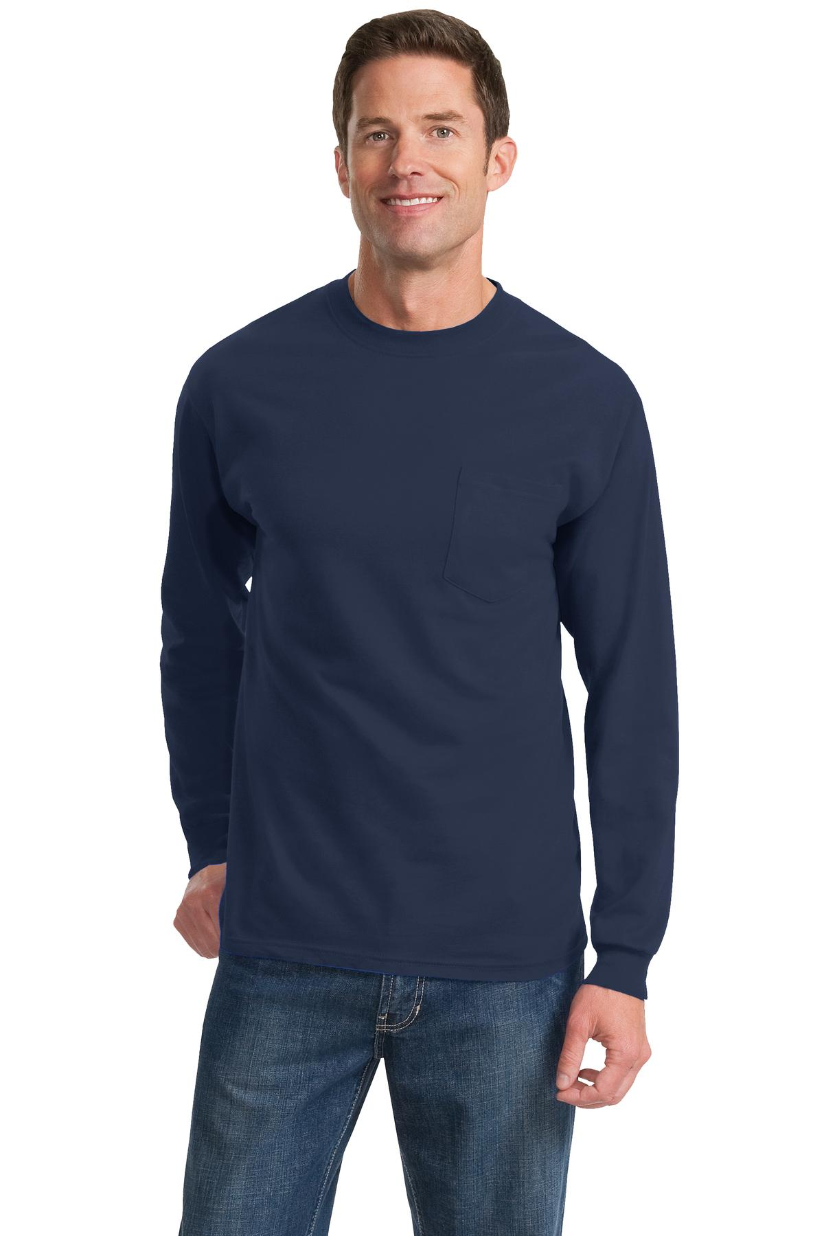 Port & Company Mens Long Sleeve T-Shirt with Pocket Heavyweight ...