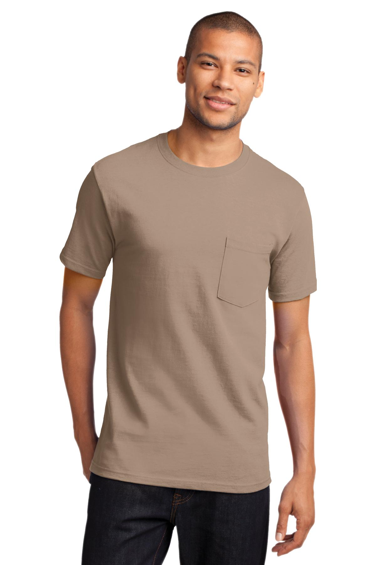 Port Company Mens Basic Pocket T Shirt Casual Cotton